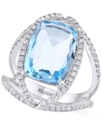 Effy Collection Effy Blue Topaz 9 Ct. T.W. And Diamond 5 8 Ct. T.W. Ring In 14K White Gold