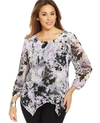 Style And Co. Plus Size Printed Rhinestone Embellished Tiered Top Serene Scene