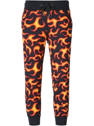 Love Moschino Flame Print Cropped Track Trousers Black