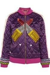 House Of Holland Embroidered Quilted Satin Jacket Purple
