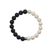 Ora Pearls Orbis Pearl And Onyx Bracelet Sterling Silver Charm Black White Silver