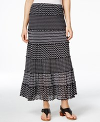Jm Collection Printed Tiered Maxi Skirt Only At Macy's Black
