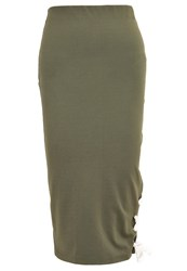 The Fifth Label Late Night Pencil Skirt Olive Khaki