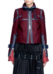 Sacai Leather Trim Belted Wool Melton Jacket Red