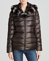 Maximilian Hooded Down Jacket With Rabbit Fur Trim Brown Purple