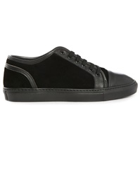 Armani Collezioni Black Grained Leather Suede Dual Fabric Sneakers