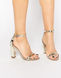 Aldo Cicci Gold Block Mid Heel Sandals Gold