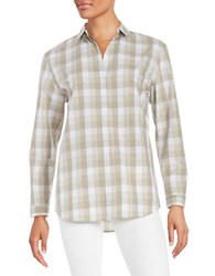 Lafayette 148 New York Gingham Button Front Shirt Silver