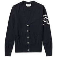 Thom Browne Hector Arm Stripe Cardigan Blue