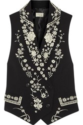 Temperley London Lettie Tuva Embroidered Crepe Vest Black
