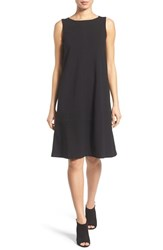 Eileen Fisher Petite Women's Bateau Neck Drop Waist Shift Dress Black