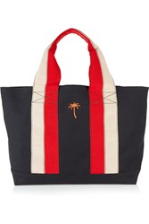 Tomas Maier Striped Canvas Tote Black