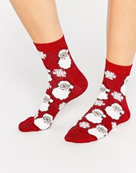 Asos Christmas Glittery Santa Ankle Socks In Bauble Red