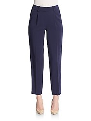 Rebecca Taylor Cropped Refined Suiting Pants Navy