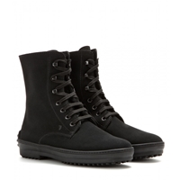 Tod's Suede Shearling Lined Ankle Boots Black