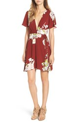 Astr Women's Floral Print Plunge Dress