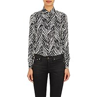 Saint Laurent Women's Zebra Print Charmeuse Blouse White