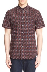 Men's Ps Paul Smith Extra Trim Fit Rose Print Short Sleeve Sport Shirt