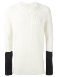 Ports 1961 Contrast Sleeve Ribbed Pullover White