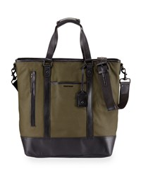 Cole Haan Leather Trim Canvas Tote Bag Olive