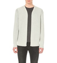 Allsaints Kett Open Front Cotton Cardigan Light Grey Mar
