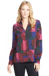 Point Collar V Neck Blouse Regular And Petite Navy Combo