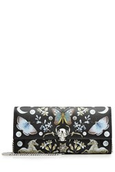 Alexander Mcqueen Nocturnal Print Calf Leather Skull Wallet On Chain Multicolor