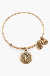 Women's Alex And Ani 'Initial' Adjustable Wire Bangle R Russian Gold