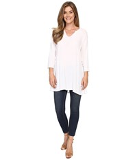 Allen Allen 3 4 Sleeve Keyhole Tunic White Women's Clothing