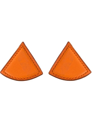 Hermes Vintage Leather Triangle Earrings