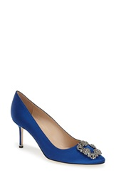 Manolo Blahnik 'Hangisi' Pointy Toe Pump Women Blue Satin