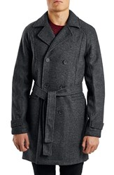 Men's Topman Bird's Eye Wool Blend Trench Coat