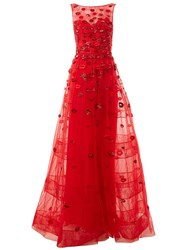 Zuhair Murad Embellished Lip Design Gown Red