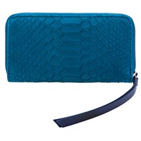 Lili Radu Smart Wallet Green Python Print Midnight Blue