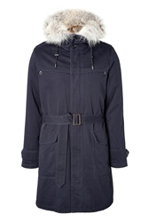 Yves Salomon Cotton Trench With Rabbit Fur Hood Lining