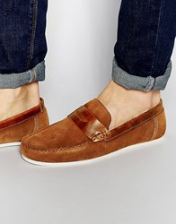 Red Tape Penny Loafers In Tan Suede Tan