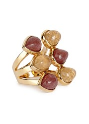Isharya Temple Muse Gold Plated Quartz Ring Red