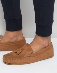 Asos Slippers In Brown With Faux Shearling Lining Tan