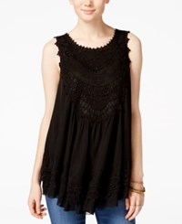 American Rag Tiered Crochet Trim Sleeveless Blouse Only At Macy's Black