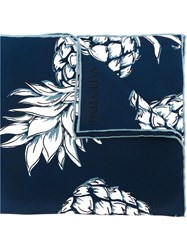 Valentino Garavani Pineapple Print Pocket Square Blue