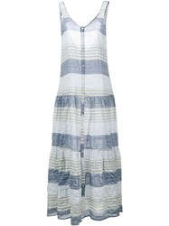 Lisa Marie Fernandez Sleeveless Stripe Midi Dress Blue