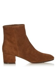 Gianvito Rossi Rolling Block Heel Suede Ankle Boots Tan