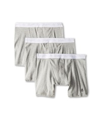 Original Penguin 100 Cotton 3 Pack 2 Button Boxer Brief Grey Heather Men's Underwear Gray