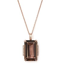 Bloomingdale's Smoky Quartz And Diamond Pendant Necklace In 14K Rose Gold 18 Rose Gld