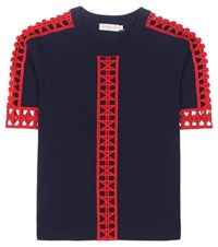 Tory Burch Rosemary Knitted Cotton Top With Crochet Knit Lace Blue