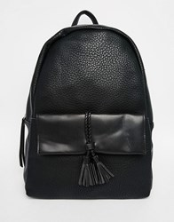 Pieces Backpack With Braided Pocket Detail Black