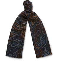 Etro Paisley Print Wool And Silk Blend Scarf Green