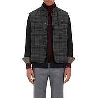 Luciano Barbera Men's Houndstooth Wool Blend Puffer Vest Dark Grey