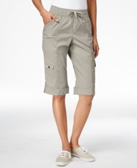 Styleandco. Style And Co. Sport Petite Cuffed Hem Capri Cargo Pants Only At Macy's White Truffle