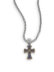 Effy Ceylon Sapphire Sterling Silver And 18K Yellow Gold Cross Necklace Silver Blue